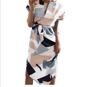 Casual floral geometric print midi dress